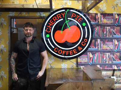 The owner of Cherry Pie, Dan in the cafe.
