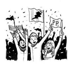 Three people waving flags in a crowd