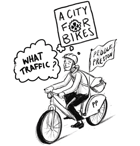 Person smiling on bike with captions 'what traffic', 'a city for bikes', 'peddle Preston'