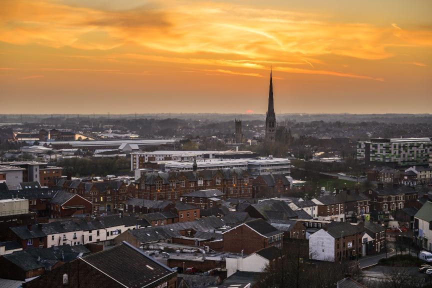 Preston Skyline at sunset