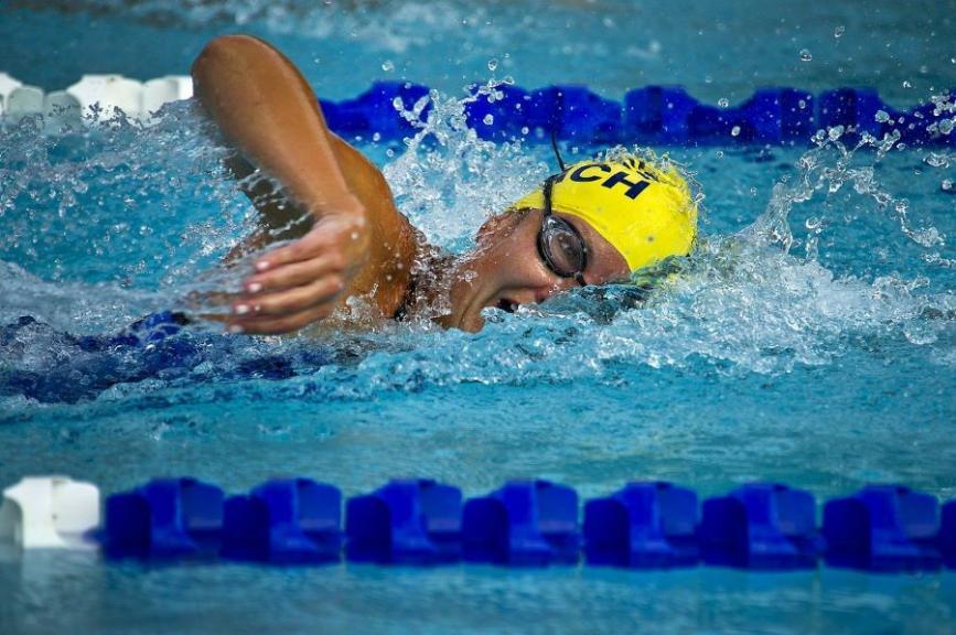 Female swimmer in pool lane